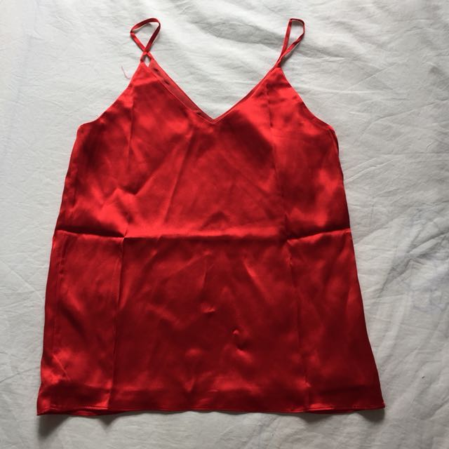 RED SATIN CAMI