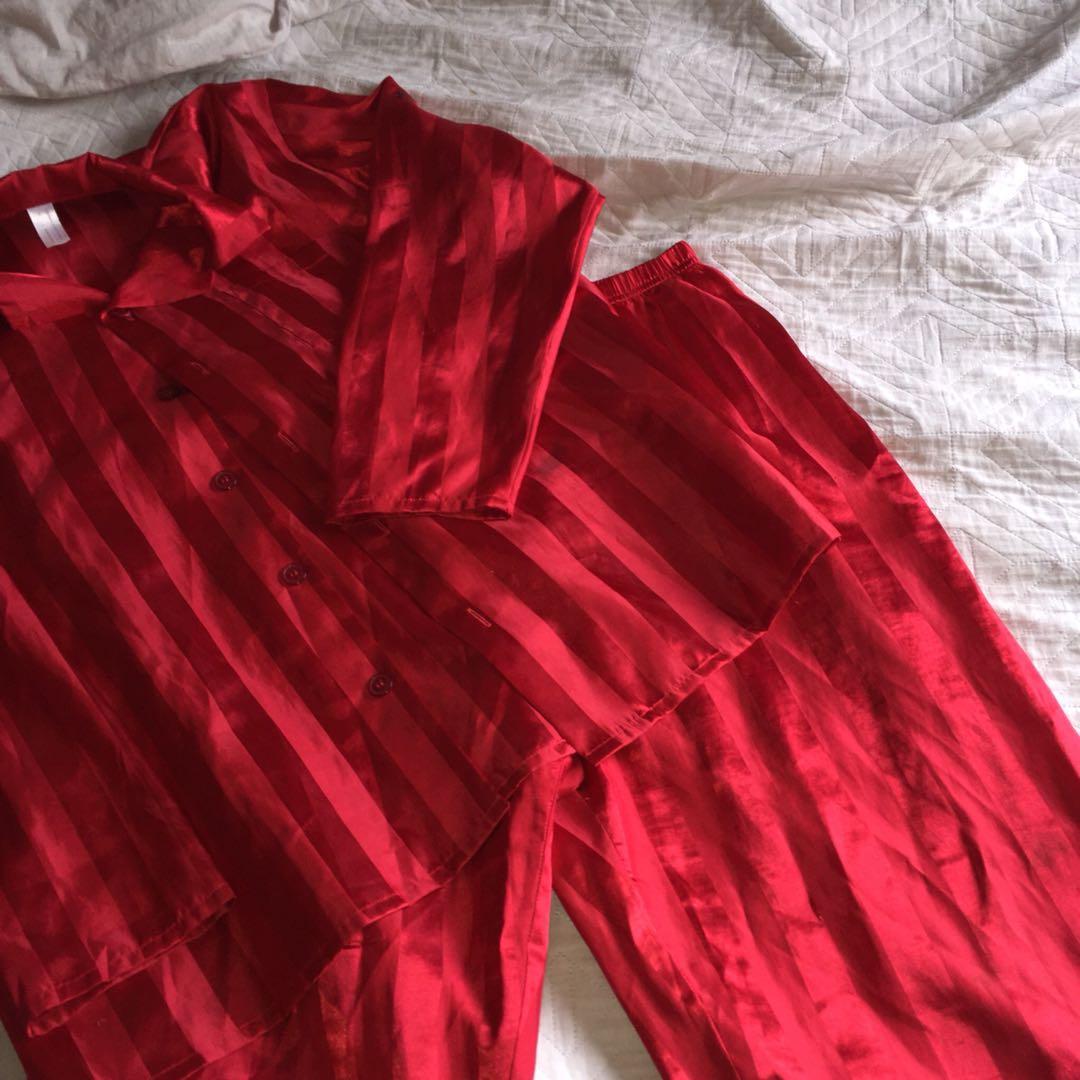 Red Satin PJ's (SIZE M)
