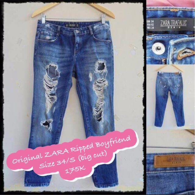 [RE-priced] Original ZARA Ripped Boyfriend Jeans #CNY2018