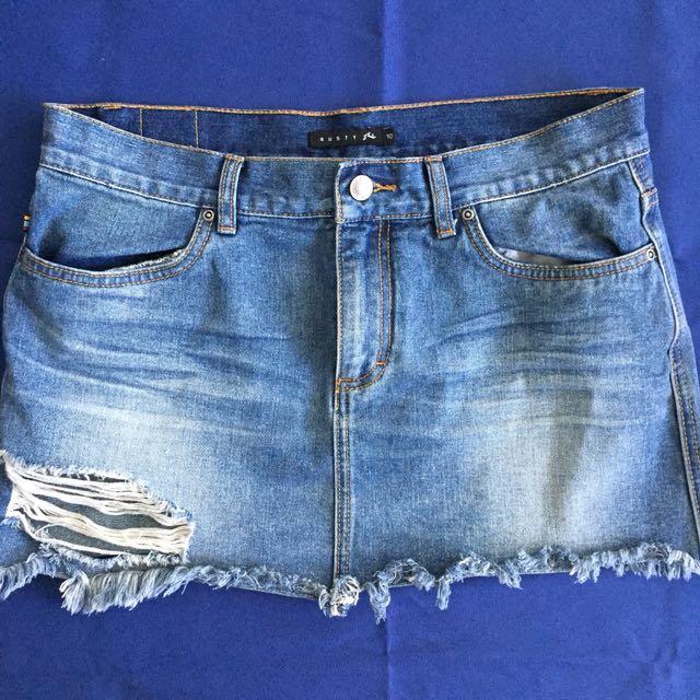 Rusty Distressed Denim Mini Skirt Sz 10