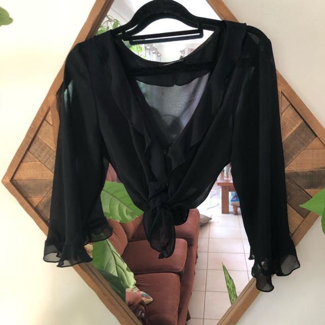 Sheer black vintages 70's top