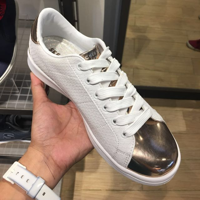 Skechers White Gold Sneakers