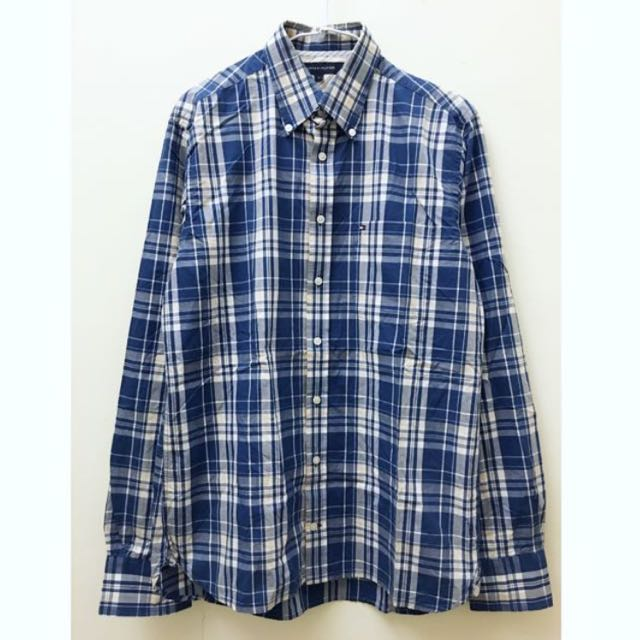 Tommy 藍色格紋襯衫