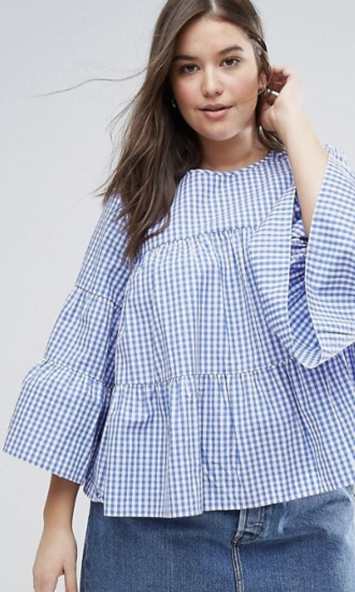 b39dd0c983a35 UK20 ASOS CURVE Smock TOP with Tiers in Gingham (Blue)