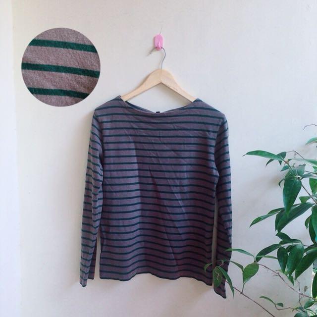 Uniqlp stripe long tshirt baju
