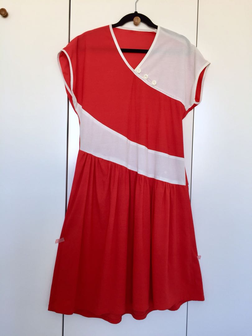 Vintage red & white dress