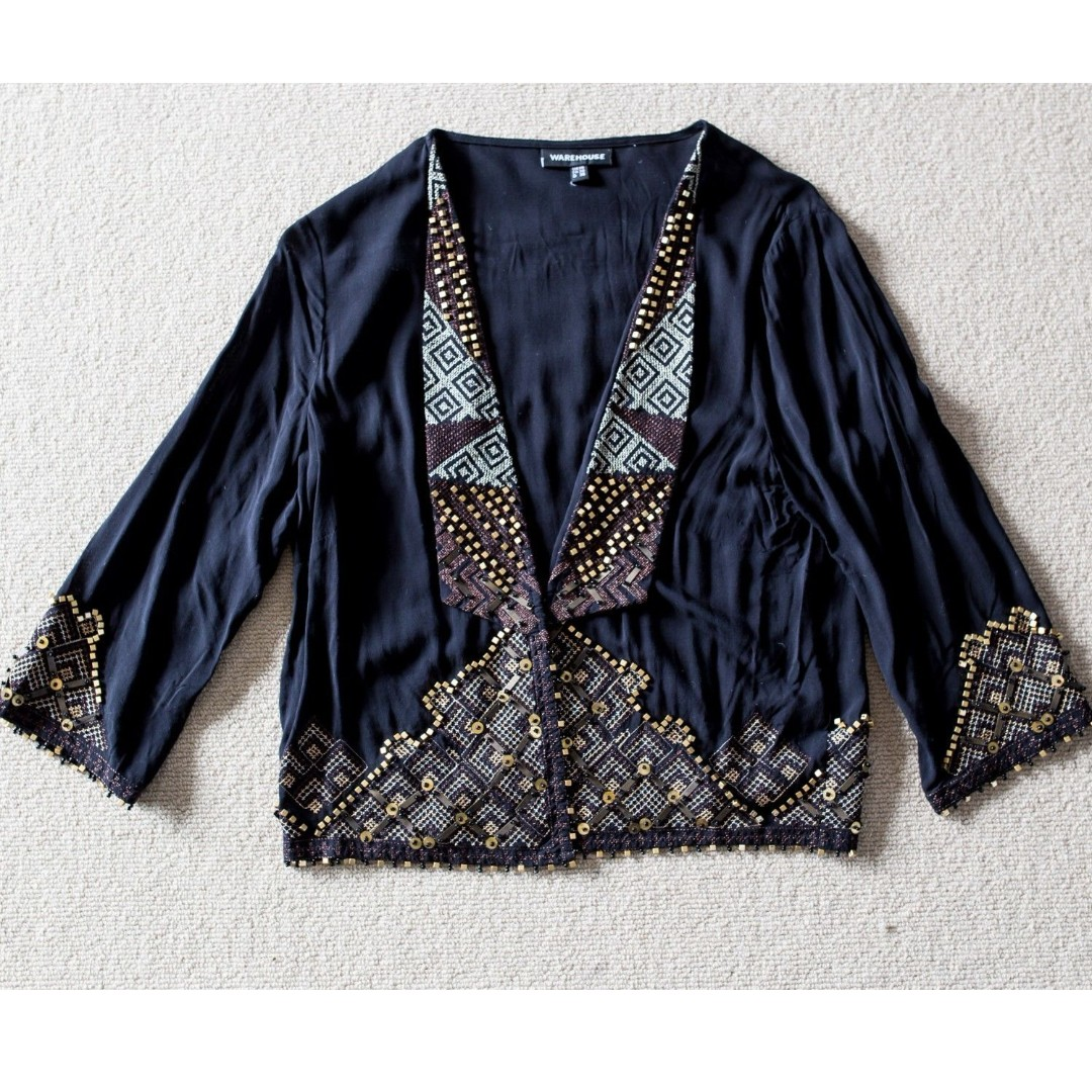 WAREHOUSE black waterfall cardigan with gold sequin aztec print detail sz 8-10