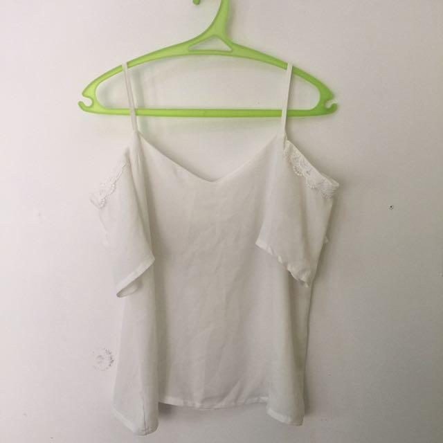 white chiffon of shoulder blouse