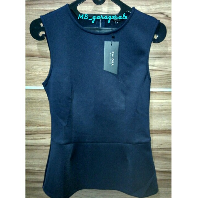Zara Peplum Top Navy