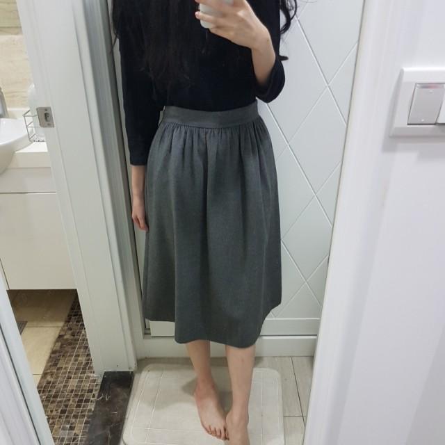 zara灰色毛尼高腰A字裙過膝裙長裙s號
