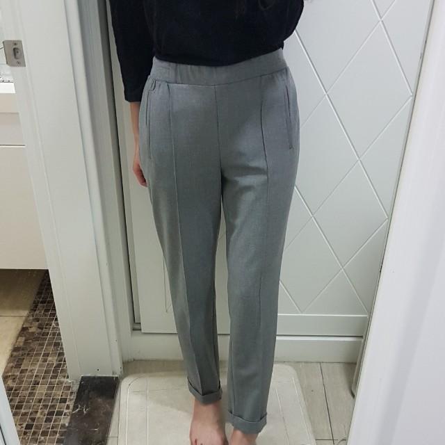 zara高腰灰色老爺褲哈倫西裝褲s號