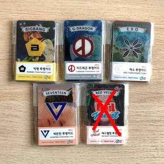 Bigbang GD EXO Seventeen Red Velvet Transparent Cards PCs Photocard