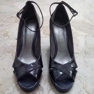 NINE WEST Women Wedges Sandal Tali Dark Purple Patent Leather PRELOVED