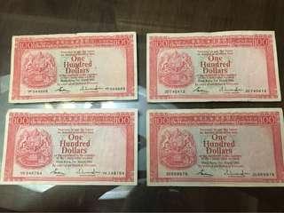 1983年滙豐銀行$100~4張