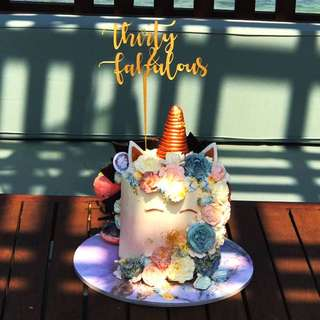 Gold Acrylic Mirror Cake Topper - Thirty & Fabulous