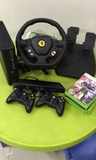 Xbox 360 kinect with with steering wheel set
