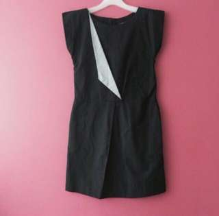 Black Dress with Grey Flap