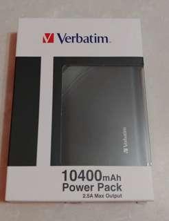 全新黑色 Verbatim 10400mAh Power Pack 2.5A Max Output 流動充電器 充電袋