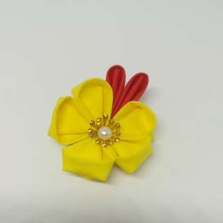 Japanese yellow flower hair clip