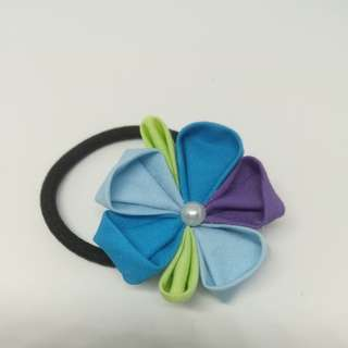 Japanese blue flower hair tie