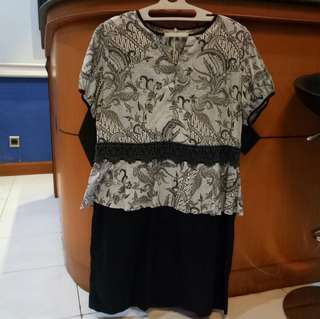 Batik Peplum Dress BIG Size
