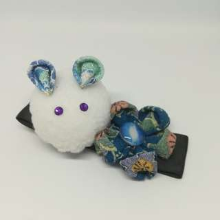 Japanese rabbit with blue galaxy flower hair clip