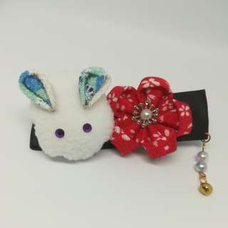 Japanese rabbit with red Flower Hair clip
