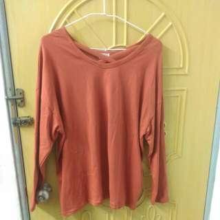 🚚 (全新)橘紅交叉設計寬鬆上衣
