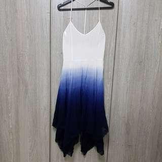 Gradient ombre blue sun dress