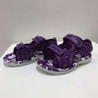 Clarks Star Joy Purple Leather Sandal size 5