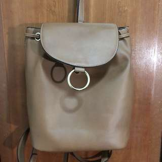 PULL&BEAR Brown Leather Backpack