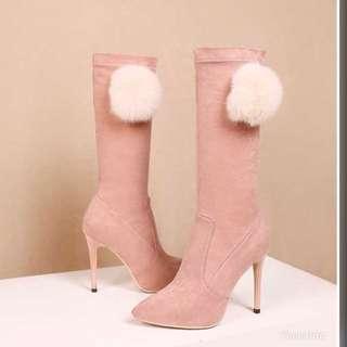 粉色毛球高跟靴