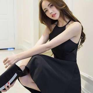 PO : Sizes Available From S To L. Super Classy And Sweet Korean Style High Neck/Racer Neck Skater/Flare/A Line Dress