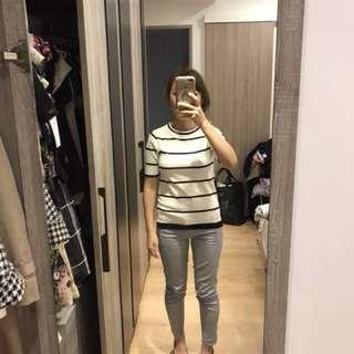 🚚 Zara 黑白條紋經典上衣S號 全新