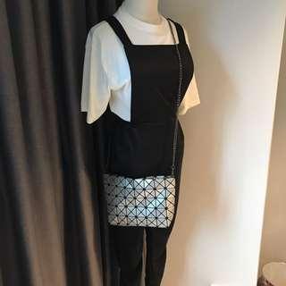 Issey miyake inspired Baobao sling bag sliver
