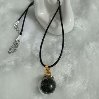 Black glass ball necklace