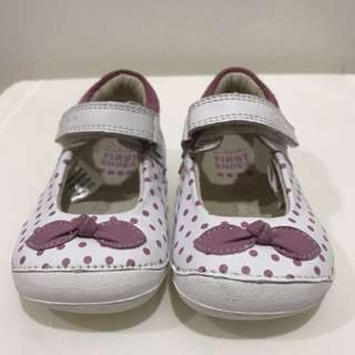 Clarks Pink Polkadot White Leather Size 3