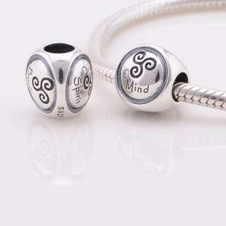 Code MS67 - Three Words Mind Spirit Body 100% 925 Sterling Silver Charm, Chain Is Not Included, Compatible With Pandora