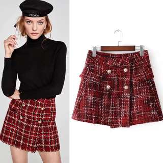 Spring European lattice double-breasted skirts