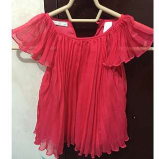 First Impressions Pleated Chiffon Fuchsia Pink Dress