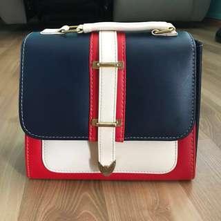 Square Sling Bag (Red & Blue)