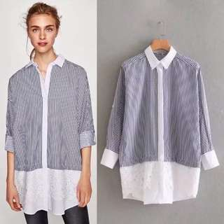 Loose fitting European and American lace spell color shirt shirt