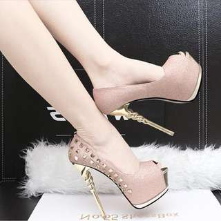 pre order  pink nude black silver glitter unicorn studded pump party high heels 14cm  RBH0256