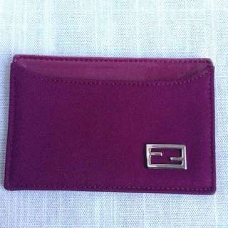 *LOWER* Fendi Card Case AUTHENTIC Maroon Silver Hardware