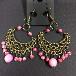 民族風 波希米亞 Vintage 深粉紅色 耳環 (購自泰國)