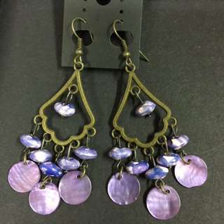 民族風 波希米亞 Vintage 紫色 耳環 (購自泰國)