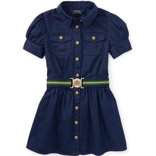 NWT Ralph Lauren Chino Button-Front Belted Shirt Dress Size 5/6/8 RRP$119
