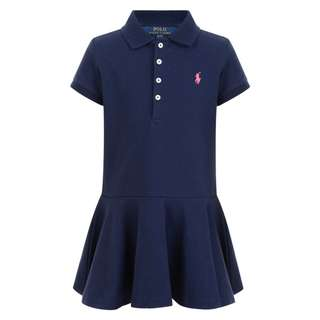 NWT RALPH LAUREN Girls Navy POLO Shirt Dress with Pink Embroidered Logo Size 7