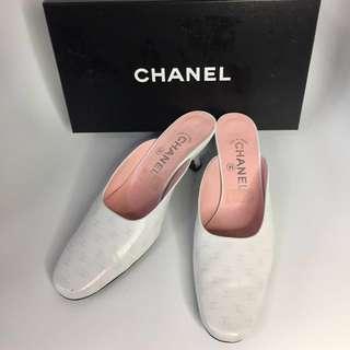 真品 Chanel CC logo clog 真皮粗跟涼鞋 37碼