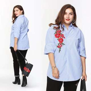 (L~3XL) Flower embroidery shirt European stripes long-sleeved shirt